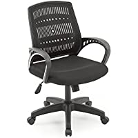HODEDAH IMPORT Hodedah Mesh, Mid-Back, Adjustable Height, Swiveling Office Chair with Padded Seat in Black
