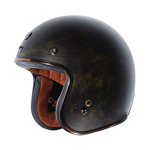 TORC Unisex-Adult Open Face Motorcycle Helmet Flat Black Weathered Bronze Medium (Motorcycle Helmet Flat Black)