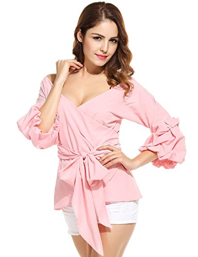 Puff Sleeve Wrap (ANGVNS Women's Off Shoulder V-Neck Bow Waist-tie Ruffle Bell Sleeve Sweet Blouse Tops Shirt (Pink, Large))