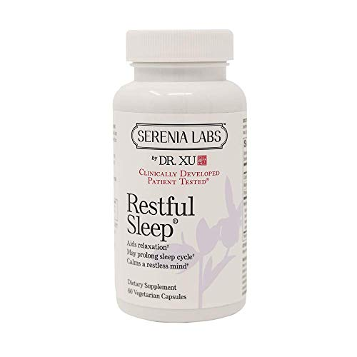 Dr. Xu's Restful Sleep Natural Sleep Aid Supplement, Non Habit Forming Natural Stress, Anxiety and Insomnia Relief, 60 Capsules (30-Day Supply)