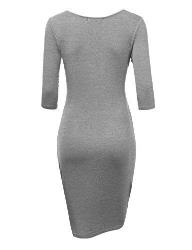 Ctc Womens Profond Col V Manches 3/4 Robe Moulante Tulipe - Made In Usa Wdr1185_heather_grey