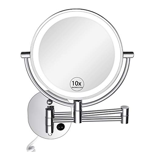 KEDSUM 8-Inch 1X/10X Wall Mounted Magnifying Makeup Mirror with Lights, 3 Color - Kedsum Bathroom Adjustable Mirrors