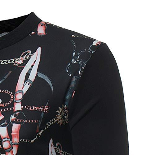 Manches Blouse T Haut Pull Homme Col Fit Chemise 7 Rond shirt Top Maillot shirt Winjin Sportwear Casual Pour Longues À Pullover Sweat Sweatshirt Noir Imprimé Slim pq8w1W6