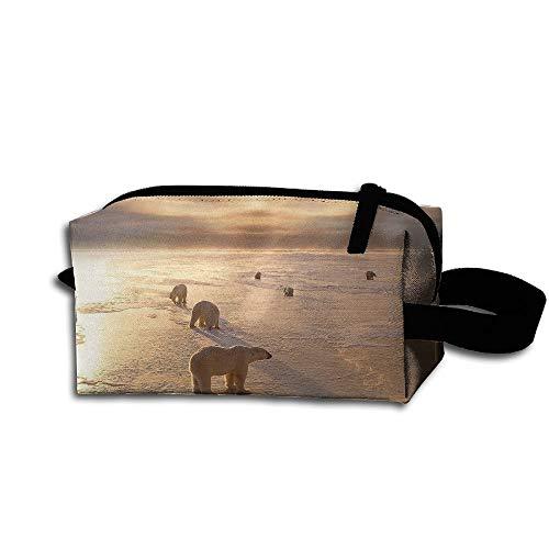 Clash Durable Zipper Wallet Makeup Handbag With Wrist Band Winter Polar Bears Toiletry Bag -