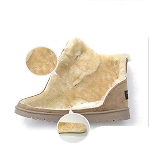 Nero Stivali Invernali Donna Morbidi Xuanli Caldi Singolo Stringi Tessuto Pulsante Impermeabile In Casuale q1UZ77CnE