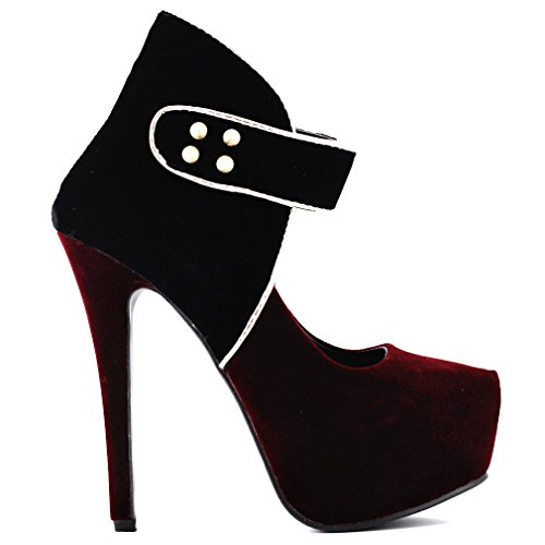 Women's Round Toe Platform Evening High Heels Club Party Shoes Red - 3