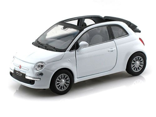 NEW 1:32 DISPLAY WELLY COLLECTION - WHITE 2010 FIAT 500C Diecast Model Car By Welly