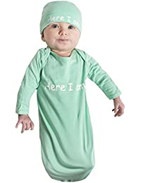 Newborn Gown and Hat Set Layette Romper Coming Home Outfit