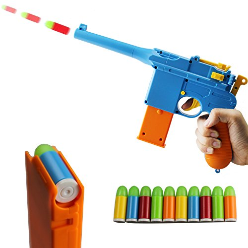 ZHENDUO Mauser Pistol Toy Gun with 10 Rubber Soft Bullets Mini Foam Dart Gun Blasters for Children Kids Cosplay Gifts (Blue)