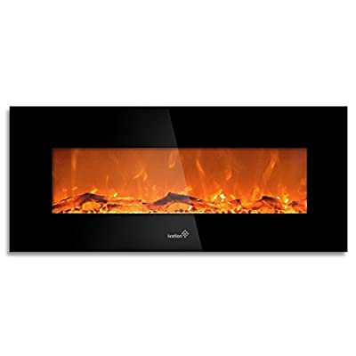 """Ivation 50"""" Wall Mounted Glass Electric Fireplace w/ Built In 1500-Watt Heater - Realistic LED Flames - Mounting Hardware & Remote Control Included - Great for Living Room, Family Room, Bedroom & More"""