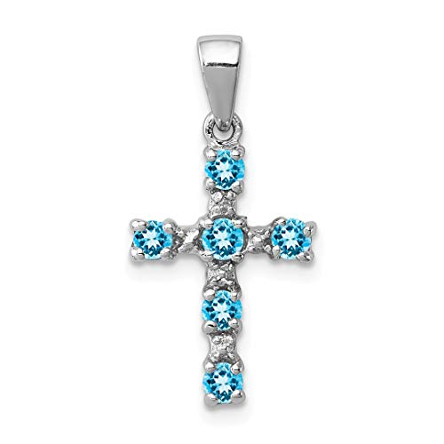(925 Sterling Silver Swiss Blue Topaz Cross Religious Diamond Pendant Charm Necklace Fine Jewelry Gifts For Women For)