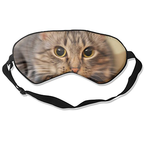 Silk Sleeping Mask Eye Cute Pet Cat Lightweight Soft Adjustable Strap Blindfold For Night's Sleep Nap Travel Eyeshade Men And Women -