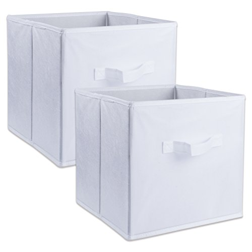 DII Fabric Storage Bins for Nursery, Offices, & Home Organization, Containers Are Made To Fit Standard Cube Organizers (13x13x13″) White – Set of 2