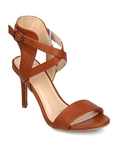 Wild Diva EG92 Women Leatherette Peep Toe Criss Cross Low Stiletto Sandal - whiskey (Size: 7.5)