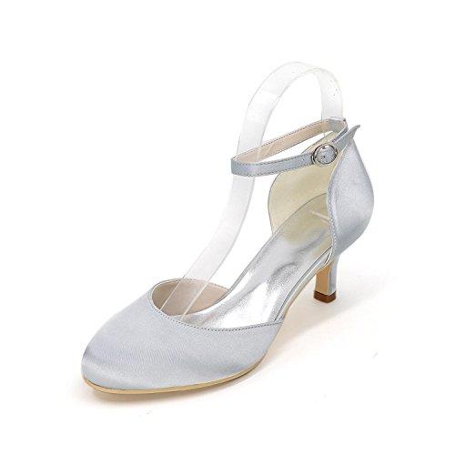 De Hebilla Yards Multi Tacón Alto Grande Satén Boda Con Mujeres L Hebillas Baile Silver yc Zapatos color UnRqI