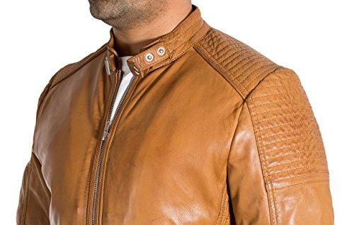 Agneau Veste Vžritable Bronzer Motard Matelassž Ržtro Hommes Mode De Souple Cuir Italienne Des FSqwX7