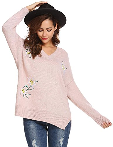 Printemps Laine Hiver Taille Top Rose Femme Floral Imprime Grande Pull V Casual Zeela Chandail Col Eqa7HHC