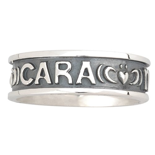 Sterling Silver Gents Oxidised 'Mo Anam Cara' Ring / Size 11