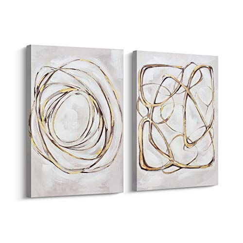 - Pi Art Abstract Wall Art Gold Lines Hand Painted on Canvas Print Wall Painting Picture for Living Room and Bedroom Wall Decor (24x36 inch, A and B)