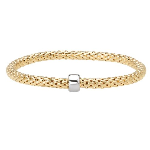 14k Yellow Gold over 925 Silver Round Woven Stretch Bangle Bracelet- 6.25+ IN by Element Jewelry
