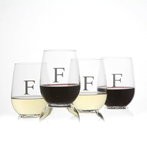 4 Wine Glass Letter - Monogrammed Stemless Wine Glasses Set of 4, Barware Glassware with Sandblasted Monograms, 17 oz Capacity Each (F)