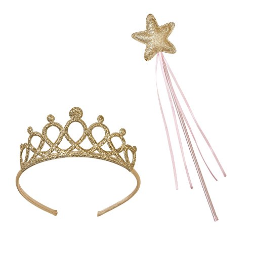 Talking Tables Tiara And Fairy Wand Gold Set | Great For Princess Dress Up, Fairy Dress Up And Kids Party | Gold Pink (Wand Tiara)
