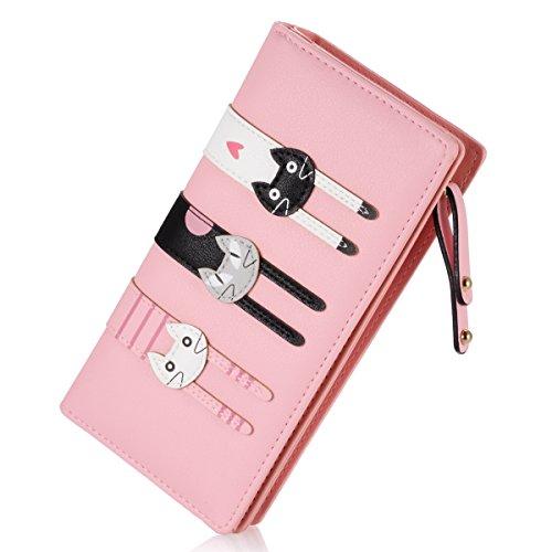 Heart Girl Wallet (Women's Wallet Cute Cat Wallet Coin Purse Bifold Long Purse with Zipper Pink)