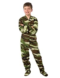 Big Feet PJs Green Camo Toddler Fleece Footed Pajamas