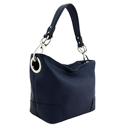 Navy Blue Leather Purse - Hobo Shoulder Bag with Snap Hook Hardware Small (Navy)