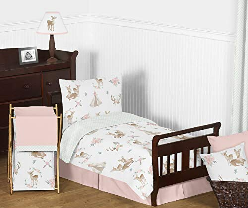 Sensational White Case - Sweet Jojo Designs Blush Pink, Mint Green and White Boho Watercolor Woodland Deer Floral Girl Toddler Kid Childrens Bedding Set - 5 Pieces Comforter, Sham and Sheets