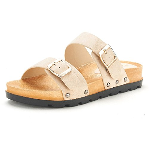 DREAM PAIRS ABI Women's Summer Open Toe Double Buckle Strap Fashion Design Slide On Flat Gladiator Sandals NUDE SIZE 7.5