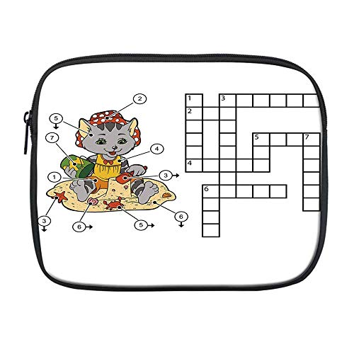 Word Search Puzzle Compatible with Nice iPad Bag,Crossword Game for Children Cute Cat on Beach and Building Sand Castles Decorative for Office,One Size
