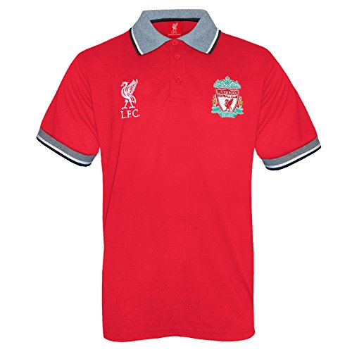 Liverpool FC Official Football Gift Mens Crest Polo Shirt Red Medium