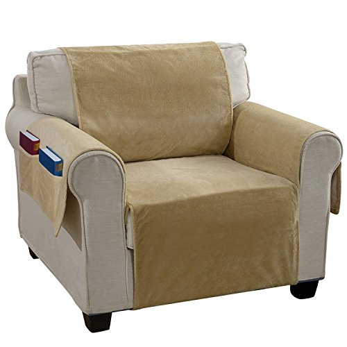 YEMYHOM Real Non-slip Pet Dog Sofa Covers Protectors with Waterproof Flannel Fabric (Chair, Beige)