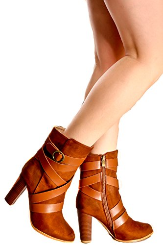 Lolli Couture Faux Suede Buckle Strap Accent Almond Toe Chunky HIGH Heel Boot 7 ()