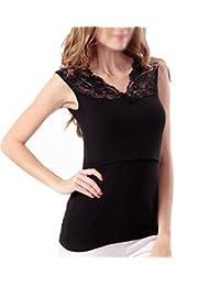 Orilife Women's Maternity Tank Nursing Tops Breastfeeding Lace Vest