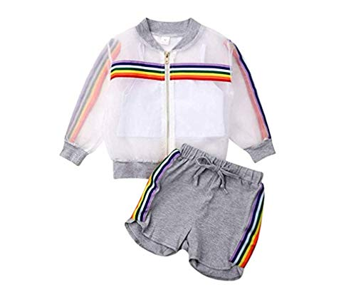3pcs Toddler Baby Girl Kids Sommer Fall Jacket Outfits Mesh Coat Zipper Tops Vest Shorts Clothes Set (Grey, 1-2 Years)