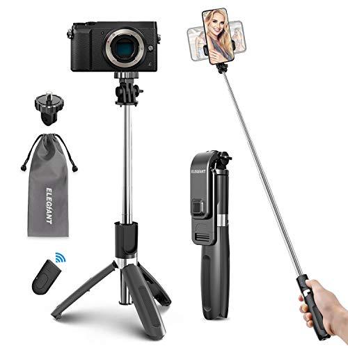 ELEGIANT Palo Selfie Tripode Bluetooth, 4 en 1 Selfie Stick Movil con Control Remoto, Deportivo Extensible para Viaje, Monopie con Obturador Rotacion 360° para Camara Deportiva, Celular Android iOS