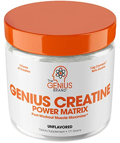 Genius Creatine Powder – Pro Post Workout Recovery Drink for Lean Muscle Gain | Creapure Monohydrate, HCL & Beta Alanine | Natural Anabolic Mass Gainer for Men & Women – Serious Muscle Builder, 171G