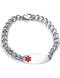 """Personalized Free Engraving Stainless Steel Medical Alert ID Identification Bracelets for Women Girl,8.4"""""""