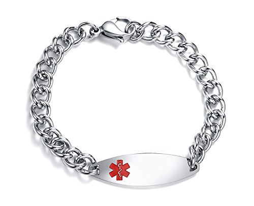 Personalized Free Engraving Stainless Steel Medical Alert ID Identification Bracelets for Women Girl,8.4'' by Mealguet Jewelry