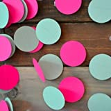 HANGNUO 16.4ft Colorful Dot Paper Garland For Wedding Birthday Anniversary Party Christmas Girls Background Decoration, Pink+T Blue, Small