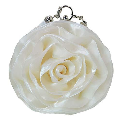 Buddy Women Rose Shaped Clutch Soft Satin Wristlet Handbag Wedding Party Purse Beige