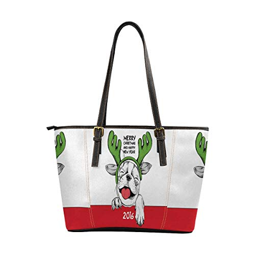 InterestPrint PU Leather Tote Bag for Women School Work Travel and Shopping Cute French Bulldog in Mask Santa's -