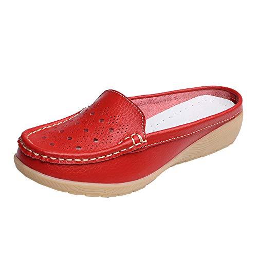 (▶HebeTop◄ Women Loafers Flats Slip On, Easy Slide Mule Moccasins Buckle Penny Slip-On Backless Loafer Shoes Red)