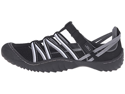 JBU by Jambu Womens JETTY Flat BLACK/GREY/WHITE,6.5