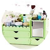 Collocation-Online Organizer Storage Box Cosmetics Receive Mirror Drawer Desktop Toilet Case Rectangle,33X19 cm,green