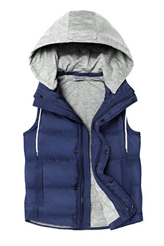 HOTOUCH Woman Zip Up And Button Front Gilet Quilted Padded Vest (Navy Blue M)