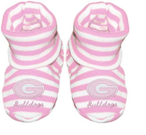 UGA University of Georgia Bulldogs College Circle G Logo NCAA Licensed Striped Newborn Baby Bootie Sock ()