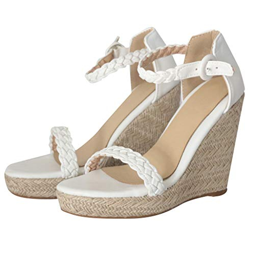 Sharemen Womens Platform Espadrille Wedges Peep Toe High Heel Sandals with Ankle Strap Buckle Up(White,US: 7.5) by Sharemen Shoes (Image #3)